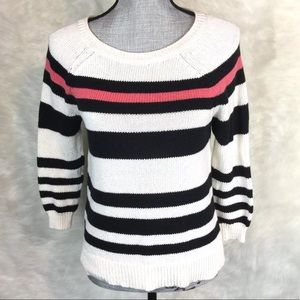 LOFT Pullover Sweater Striped Cotton 3/4 Sleeve